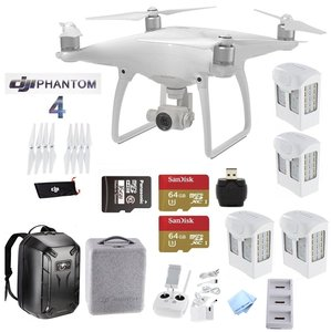 DJI Phantom 4 Deluxe Bundle - Includes 4 Intellegent In Flight Batteries + Battery Charging Hub + 2 Extended Video 64GB Micro SD Memory Card + Travel Hard Shell Back Pack