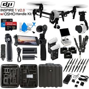 DJl lnspire 1 V2.0 with OSMO Handle Kit & CS Kit: Includes Spare TB47B Battery, 4 Piece Filter Kit, SanDisk 64GB Extreme Pro MicroSD Card and more...