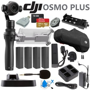 DJI OSMO Plus Ultimate Bundle - Includes 4 Osmo High Capacity Batteries, Quad Charger, Osmo Base, Battery Extender, Rapid Charger, 64GB MicroSD Memory Card and more...