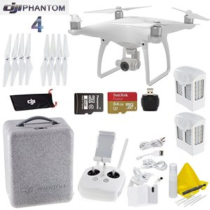 DJI Phantom 4 Package - Includes 2 Intellegent In Flight Battery + Extra 64GB Micro SD Memory Card