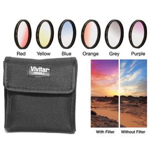 Vivitar 72mm Graduated Color Multicoated Filter Set (Red, Yellow, Blue, Orange, Gray, Purple & Case)