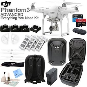DJI Phantom 3 Advanced w/ Circuit Street Everything You Need Kit - Hardshell Backpack + 4 Filters + 4 Batteries + Charging Hub (Charges 4 batteries at once!) + more...