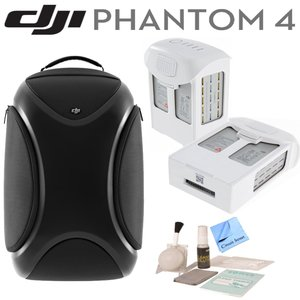 DJI Phantom 4 Travel Bundle: Includes DJI Phantom 4 Backpack, 2 Spare DJI Intelligent Flight Batteries for Phantom 4, Circuit Street Brush Blower, Cleaning Kit & Microfiber Cleaning Cloth