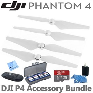 DJI Phantom 4 Propellers Accessory Bundle: Includes 2 Pairs of DJI 9450S Quick Release Propellers for DJI Phantom 4 Drone, SanDisk 32GB MicroSD Card, Reader, Wallet & Circuit Street Cleaning Kit