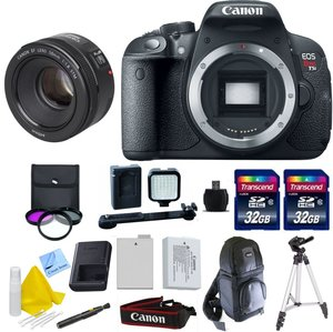 "KIT: Canon EOS T5i, Canon 50mm F/1.8 STM, Two 32GB Transcend SD Memory Cards, LED Video Light, Extra LP E8 Battery, 50"" Tripod, DSLR Sling Bag, 1 Year Warranty and More (International Version)"