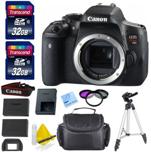 "Canon EOS T6i DSLR Camera Body Only Kit +1 Year Warranty + 2 32GB Transcend SD Cards + Spare LP E17 Battery + 3 Piece Filter Kit (UV, CPL, FLD) + 50"" Tripod - International Version"