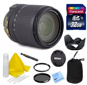 Nikon Lens Kit With Nikon AF-S DX NIKKOR 18-140mm f/3.5-5.6G ED VR Lens (67mm Thread) + 32GB Transcend SD Card- for Nikon DSLR Cameras + Ultra Violet & Circular Polarizing Filters