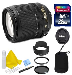 Nikon Lens Kit With Nikon AF-S DX NIKKOR 18-105mm f/3.5-5.6G ED VR Lens (67mm Thread) + 32GB Transcend SD Card- for Nikon DSLR Cameras + Ultra Violet & Circular Polarizing Filters