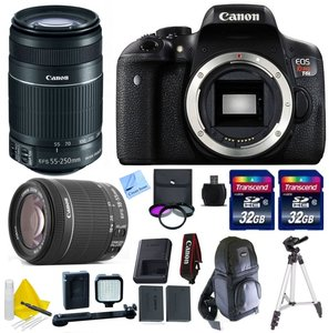 Canon EOS T6i DSLR Camera Kit + Canon 18-55mm IS STM + Canon 55-250mm IS STM + 1 Year Warranty + 2 32GB Transcend SD Cards + Accessory Bundle - International Version