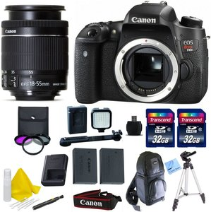 Canon EOS T6s + Canon 18-55 IS STM + 2 32GB Transcend SD Memory Cards + LED Video Light + Spare LP E17 Battery + DSLR Sling Bag & More - International Version