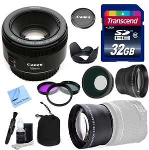 Canon Lens Kit With Canon EF 50mm f/1.8 STM Fixed Zoom/ Portrait Lens (49mm Thread) + Wide & Telephoto Auxiliary Lenses + 3 Piece Filter Kit + 32 GB Transcend SD Card-for Canon DSLR Cameras