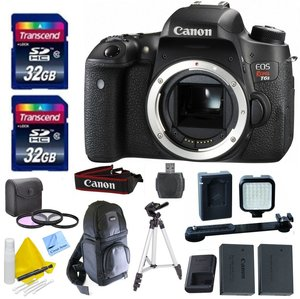 Canon EOS T6s Body Only + 2 32GB Transcend SD Memory Cards + LED Video Light + Spare LP E17 Battery + DSLR Sling Bag & More - International Version