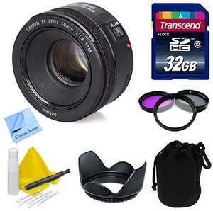 Canon Lens Kit With Canon EF 50mm f/1.8 STM Lens + 32 GB Transcend SD Card + Lens Hood + Filter Kit- (49mm Thread) for Canon DSLR Cameras (Fixed Zoom Portrait/Video Lens)