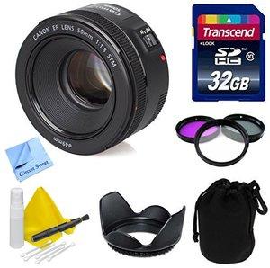 Canon Lens Kit With Canon EF 50mm f/1.8 STM Lens + 32 GB Transcend SD Card + Lens Hood + Filter Kit- (49mm Thread) for Canon DSLR Cameras (Fixed Zoom Portrait/Video Lens)