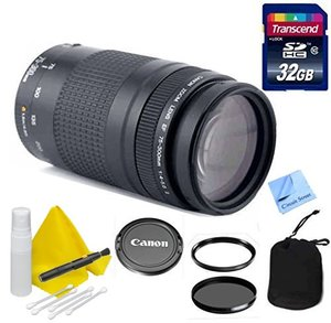 Canon Lens Kit with Canon EF 75-300mm f/4-5.6 III Telephoto Zoom Lens + 32 GB Transcend SD Card-58mm Thread for Canon DSLR Cameras