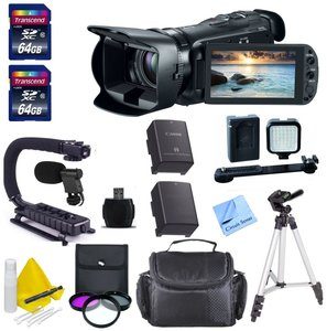 Canon Professional Video Camera + 2 64 GB Transcend SD Cards + Spare Battery + Digital Video Microphone + LED Light Kit + Stabilizing Scorpion Grip & More