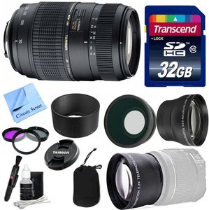 Tamron Lens Kit For Canon DSLR Cameras With Tamron 70-300mm AF f/4-5.6 Di LD Macro Telephoto Zoom Lens (62mm, A17E) + Wide & Telephoto Auxiliary Lenses + 3 Piece Filter Kit + 32 GB Transcend SD Card