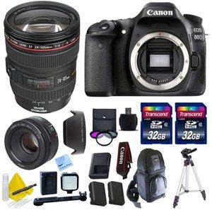 Canon DSLR Bundle With Canon EOS 80D Body Kit + Canon EF 24-105 f/4 L IS USM (Glass Element) Lens + Canon 50mm 1.8 STM Video/ Portrait Lens + 2 32GB Transcend Cards + LED Video Light Bundle & More - International Version