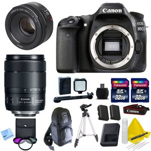Canon DSLR Kit With Canon EOS 80D + Canon 18-135mm IS USM (New Model) Lens + Canon 50mm 1.8 STM Video / Portrait Lens + 2 32GB Transcend SD Memory Cards + Spare LP E6 + LED Video Light Kit & More - International Version