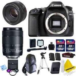 Canon DSLR Kit With Canon EOS 80D + Canon 18-135mm IS USM (New Model) Lens + Canon 50mm 1.8 STM Video / Portrait Lens + 2 32GB Transcend SD Memory Cards + Spare LP E6 + LED Video Light Kit & More - International Version