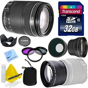 Canon Lens Kit With Canon EF-S 18-135mm f/3.5-5.6 IS STM Lens Standard Zoom Lens (67mm Thread) + Wide & Telephoto Auxiliary Lenses + 3 Piece Filter Kit + 32 GB Transcend SD Card-for Canon DSLR Cameras