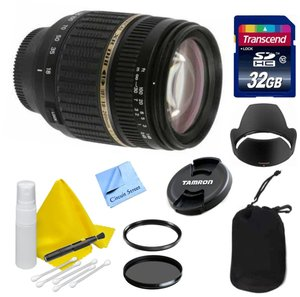 Canon Lens Kit for DSLR Cameras With Tamron 18-200mm Super Wide f/3.5-6.3 XR Di-II LD Aspherical (IF) Macro + UV & CPL Filters + 32 GB Transcend SD Card