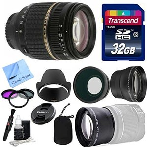 Tamron Lens Kit For Canon DSLR Cameras With Tamron 18-200mm Super Wide f/3.5-6.3 XR Di-II LD Aspherical (IF) Macro + Wide & Telephoto Auxiliary Lenses + 3 Piece Filter Kit + 32 GB Transcend SD Card