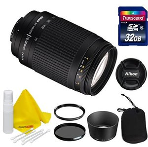 Nikon Lens Kit With Nikon AF Zoom NIKKOR 70-300mm f/4-5.6 G Lens (62mm Thread) + 32 GB Transcend SD Card- for Nikon DSLR Cameras + Ultra Violet & Circular Polarizing Filters