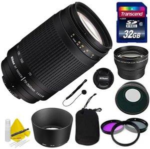 Nikon Lens Kit With Nikon AF Telephoto Zoom NIKKOR 70-300mm f/4-5.6 G Lens (62mm Thread) + 32GB Transcend SD Card- for Nikon DSLR Cameras + 3 Piece Filter Kit + Auxiliary Lenses