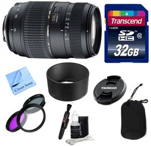 Tamron Lens Kit For Nikon DSLR Cameras With Tamron 70-300mm f/4-5.6 Di LD Macro Autofocus Lens for Nikon AF (62mm, AF017NII) with Built in Motor + 3 Piece Filter Kit + 32 GB Transcend SD Card