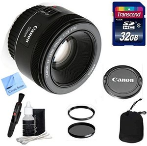 Canon Lens Kit With Canon EF 50mm f/1.8 STM Lens + 32 GB Transcend SD Card- 49mm Thread for Canon DSLR Cameras (Fixed Zoom Portrait/Video Lens)