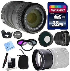 Canon Lens Kit With Canon EF-S 55-250mm f/4-5.6 IS STM Zoom Lens (58mm Thread) + Wide & Telephoto Auxiliary Lenses + 3 Piece Filter Kit + 32 GB Transcend SD Card-for Canon DSLR Cameras