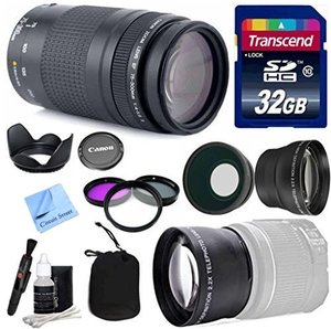 Canon Lens Kit With Canon EF 75-300mm f/4-5.6 III Telephoto Zoom Lens (58mm Thread) + Wide & Telephoto Auxiliary Lenses + 3 Piece Filter Kit + 32 GB Transcend SD Card-for Canon DSLR Cameras