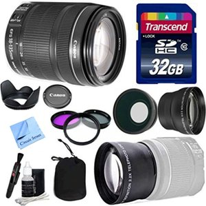 Canon Lens Kit With Canon EF-S 18-135mm f/3.5-5.6 IS STM Lens (US Version)-(67mm Thread) + Wide & Telephoto Auxiliary Lenses + 3 Piece Filter Kit + 32 GB Transcend SD Card-for Canon DSLR Cameras