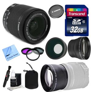 Canon Lens Kit With Canon 18-55mm f/3.5-5.6 STM Standard Zoom Lens (58mm Thread) + Wide Angle & Telephoto Auxiliary Lenses + 32 GB Transcend SD Card- for Canon DSLR Cameras