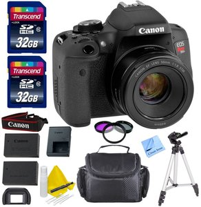 Canon EOS T6i DSLR Camera Kit + Canon EF 50mm f/1.8 STM Lens + 1 Year Warranty + 2 32GB Transcend SD Cards + Spare LP E17 Battery + Accessory Bundle - International Version