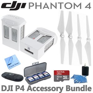 DJI Phantom 4 Accessory Bundle: Includes 2 Intelligent Flight Batteries, 2 Pairs of DJI 9450S Quick Release Propellers, SanDisk 32GB MicroSD Card, Reader, Wallet & Circuit Street Cleaning Kits