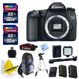 Canon DSLR Kit With Canon 70D Body Only + 2 32GB Transcend SD Memory Cards + LED Video Light + Spare LP E6 Battery + DSLR Sling Bag 1 Year Warranty & More - International Version