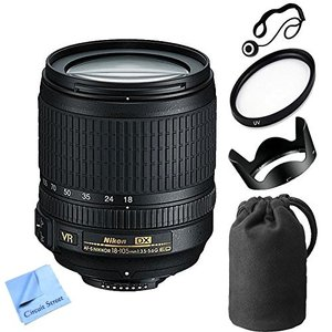 Nikon 18-105mm f/3.5-5.6 AF-S DX VR ED Nikkor Lens for Nikon Digital SLR Cameras With 67mm UV Filter + Lens Cleaning Kit