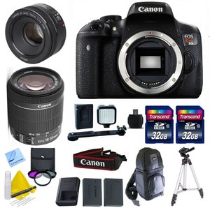 "Canon EOS T6i DSLR Kit + Canon EF-S 18-55mm IS STM + 50mm 1.8 STM + 2 32GB Transcend SD Cards + Spare LP E17 Battery + 3 Piece Filter Kit (UV, CPL, FLD) + 50"" Tripod - International Version"