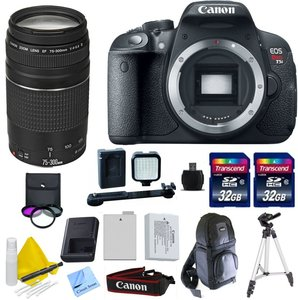 Canon EOS T5i + Canon 75-300mm f/4-5.6 III Telephoto Zoom Lens + 2 32GB Transcend SD Memory Cards + LED Video Light + Spare LP E8 Battery + DSLR Sling Bag & More - International Version