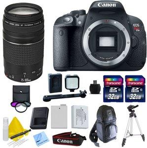Canon EOS T5i + Canon 75-300mm f/4-5.6 III Telephoto Zoom Lens + 2 32GB Transcend SD Memory Cards + LED Video Light + Spare LP E8 Battery + DSLR Sling Bag & More - International Version