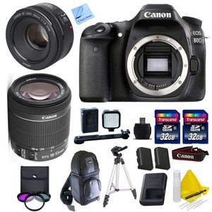 Canon EOS 80D Body Kit + Canon 18-55mm IS STM + Canon 50mm 1.8 STM Video/ Portrait Lens + 2 32GB Transcend SD Memory Cards + LED Video Light Bundle & More - International Version