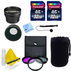 DSLR Lens Accessory Kit with 32GB Transcend SD Memory Card + 58mm 3 Piece Filter Kit + Lens Pouch + Cap Keeper + Wide & Telephoto Auxiliary Lenses-fits Canon, Sony, Nikon, Panasonic, Pentax, Fuji
