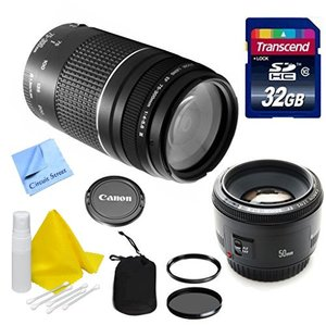 Canon Lens Kit With Canon 75-300mm f/4-5.6 III Telephoto Zoom Lens Lens (58 Thread) & Canon 50mm f/1.8 IS II Fixed Zoom/ Portrait Lens (52mm Thread) + 32 GB Transcend SD Card- for Canon DSLR Cameras