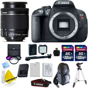 "Canon EOS T5i + Canon 18-55mm f/3.5-5.6 IS STM + 2 32GB Transcend SD Memory Cards + LED Video Light + Spare LP E8 Battery + 50"" Tripod + DSLR Sling Bag & More - International Version"