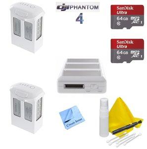 DJI Phantom 4 Battery Power Kit - Includes 2 Intellegent In Flight Batteries + P4 Battery Charing Hub + 2 64GB SD Memory Card