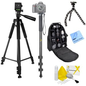 Digital Camera Accesory Bundle Package, Includes Full Size Tripod, Camera Storage Backpack, Monopod, Gripster Tripod, Lens Cleaning Kit and CS Microfiber Cleaning Cloth. Compatible With Canon Rebel T5i, T5, T4i, T4, T3i, T3 and More!!!