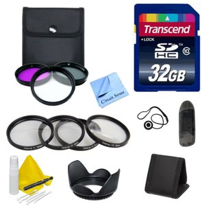 DSLR Accessory Kit for Any 77mm Lens- for Canon, Nikon, Panasonic, Sony Includes - 32GB Transcend SD Card + 4 Piece Macro Close Up Kit + 3 Piece Filter Kit