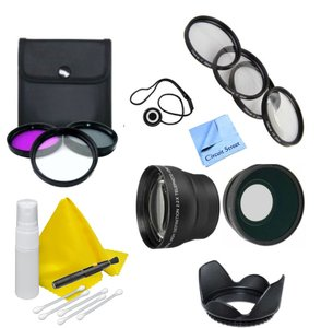 Lens Accessory Kit- Compatible with Any DSLR or Camcorder- 67mm - Nikon, Canon, Sony, Panasonic -Includes 3 Piece Filter Kit + 4 Piece Macro Close Up Kit + Wide Angle & Telephoto Lenses + Lens Hood